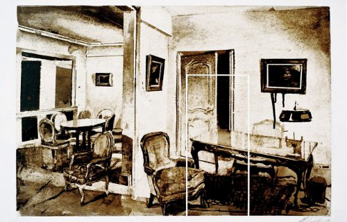 Chairs Tables Walls 1 48x72cm Oil on Paper