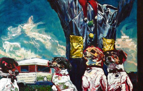 Clown with Dogs 80x100cm Oil on Canvas 1996