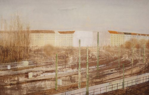 SOLD. Rusty Tracks 65x96cm oil on paper 2017