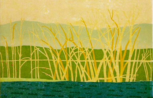 Woodblock Print, Yellow Trees, 2018, For Sale