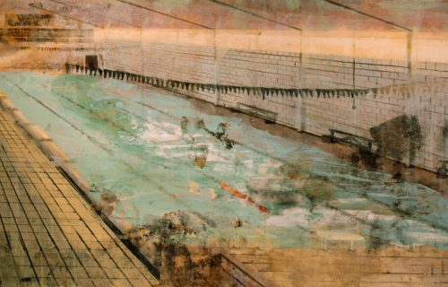 Stretched Pool 2014 170cm x 66cm Oil on Canvas